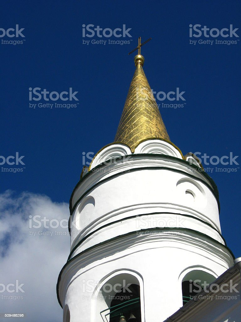 Beautiful church dome on the background of the blue sky stock photo