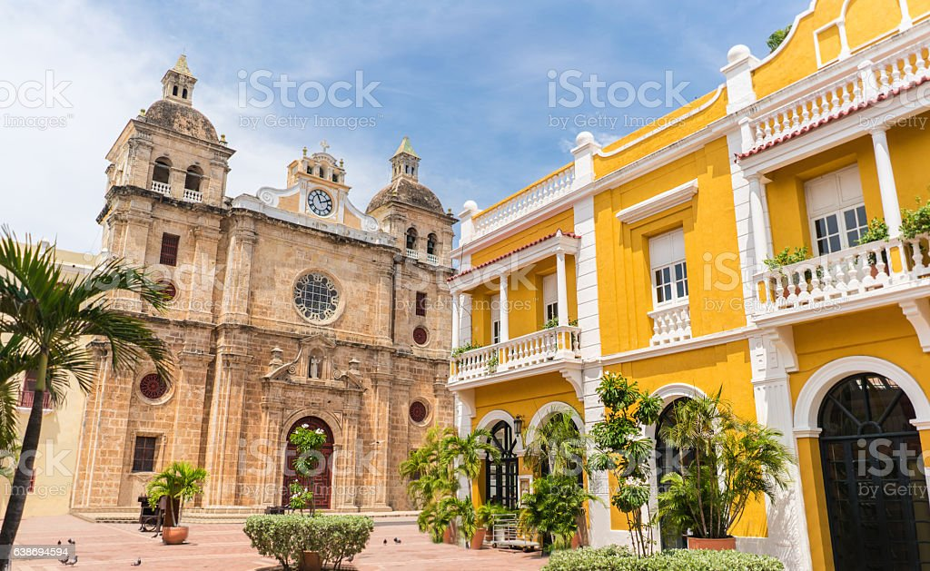 Beautiful church in Cartagena - Colombia stock photo