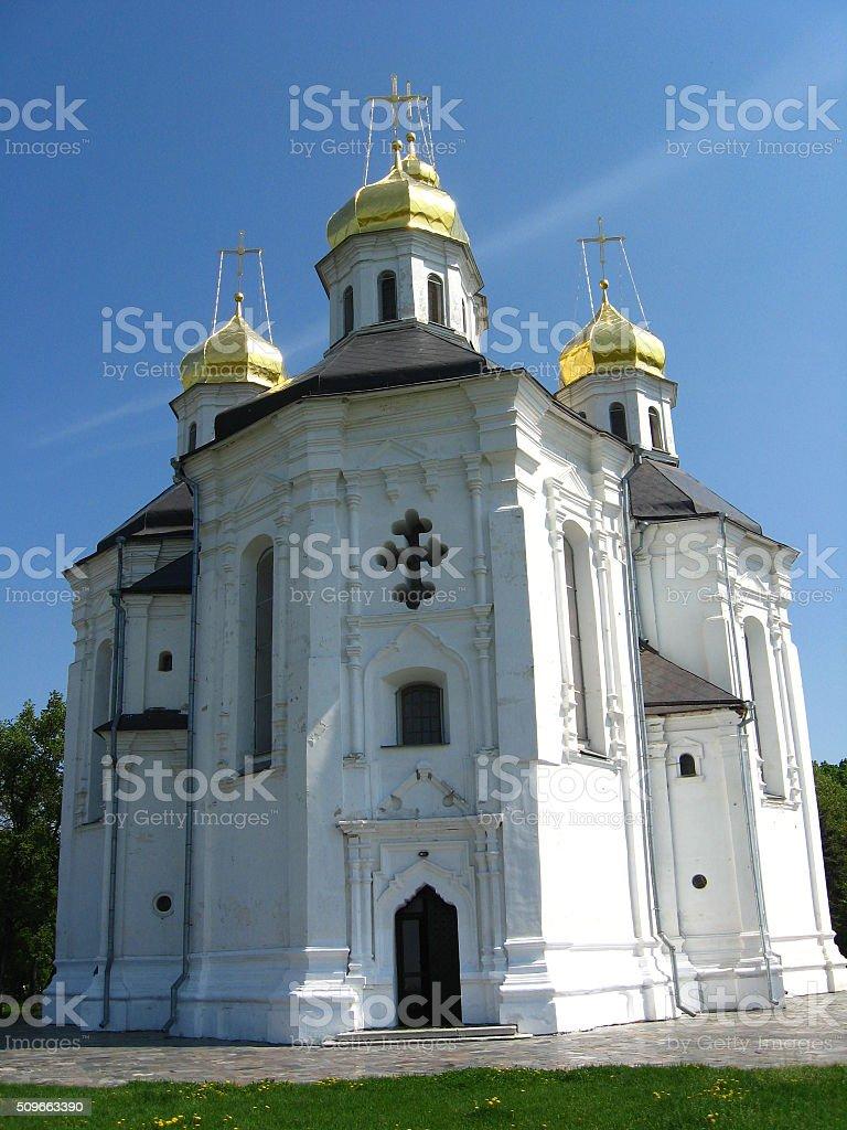 Beautiful church in Chernihiv stock photo