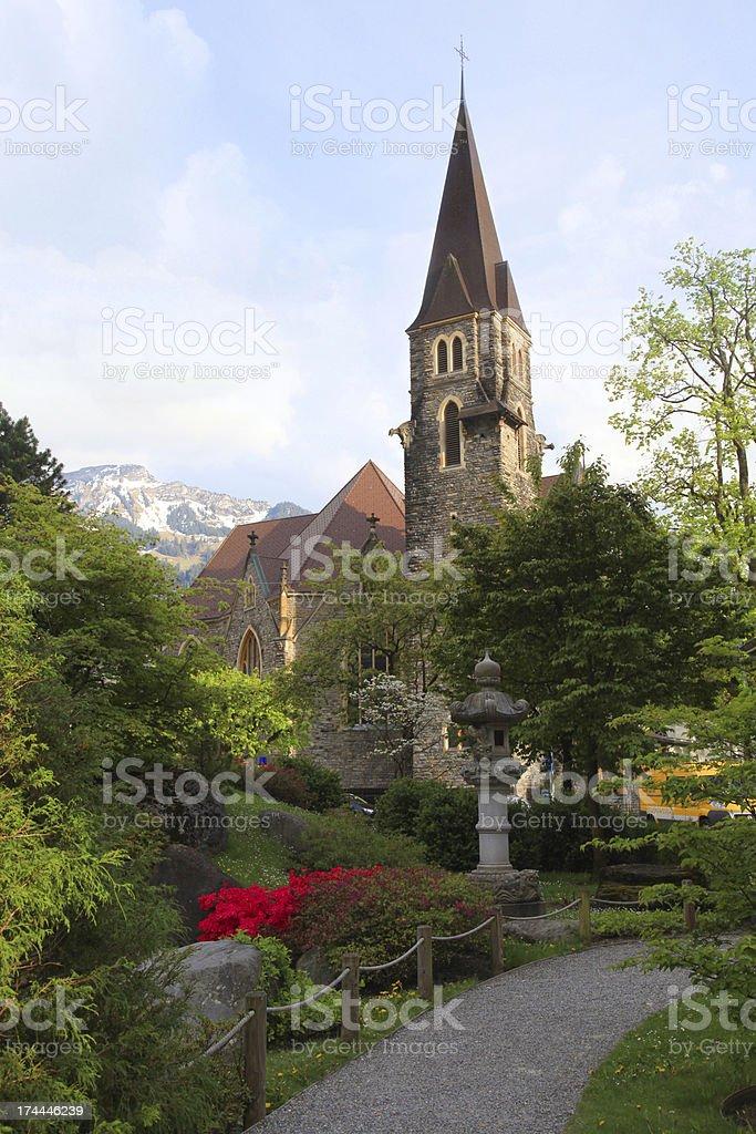 beautiful church in Interlaken, Switzerland royalty-free stock photo