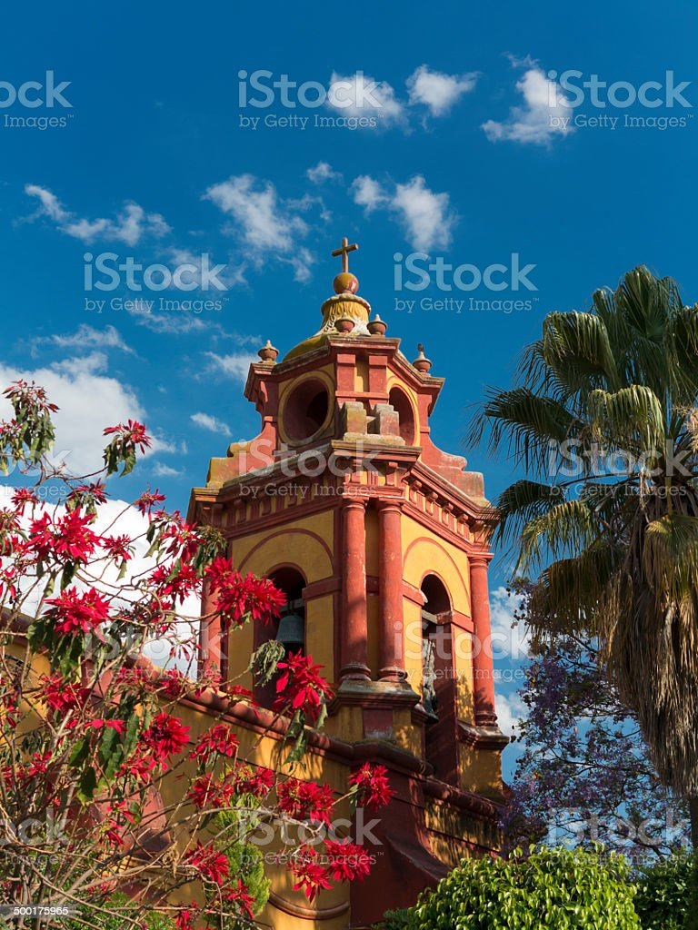 Beautiful Church of Bernal, Mexico stock photo