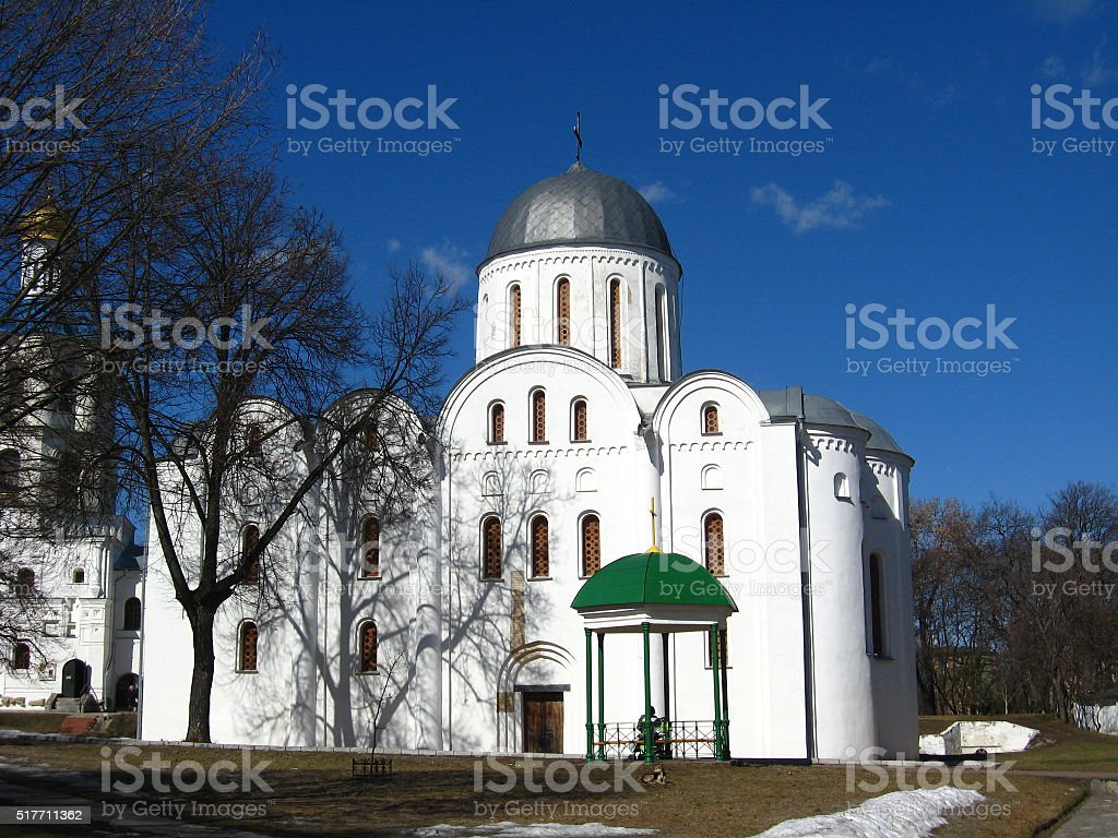Beautiful church on the background of the blue sky stock photo