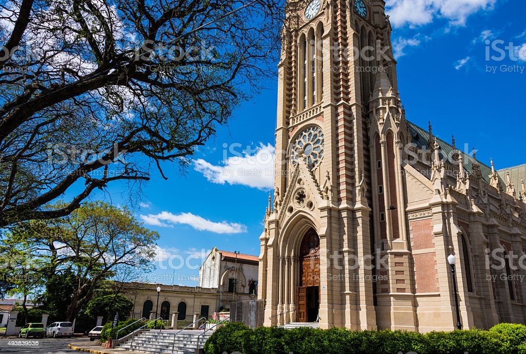Beautiful Church, traveling Buenos Aires City. stock photo