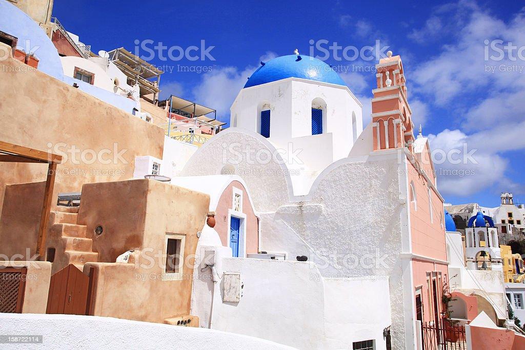 Beautiful churches of Oia in Santorini royalty-free stock photo