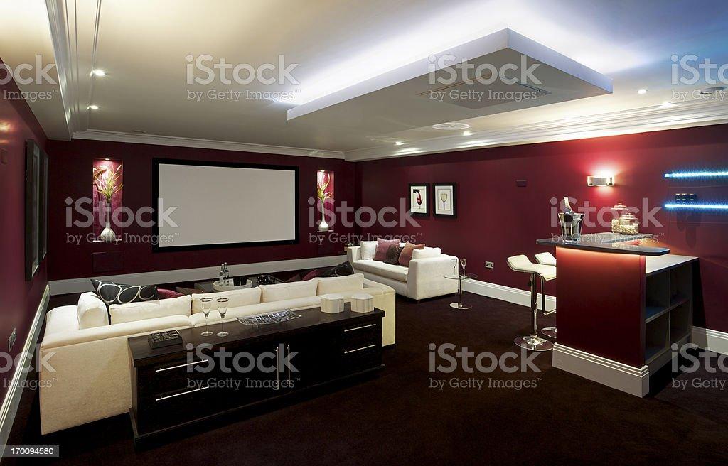 beautiful cinema room stock photo