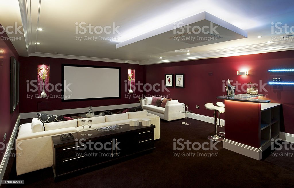 beautiful cinema room stock photo