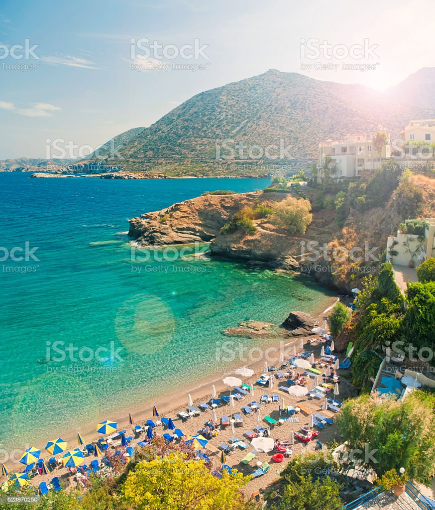 beautiful city beach, sea and mountains on summer day stock photo