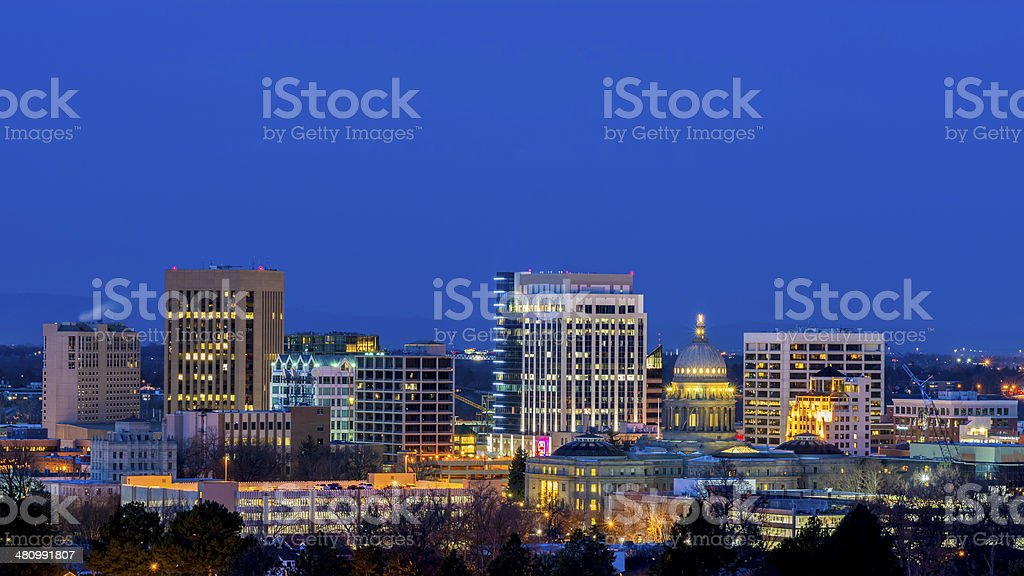 Beautiful city of Boise Idaho night stock photo