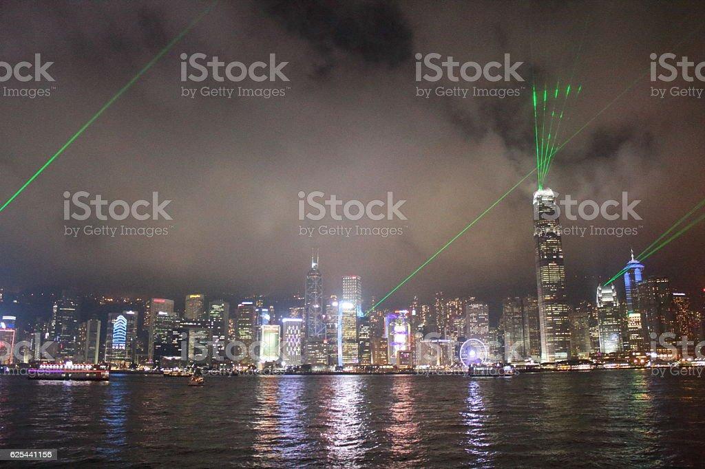 Beautiful city skyline in hong kong stock photo
