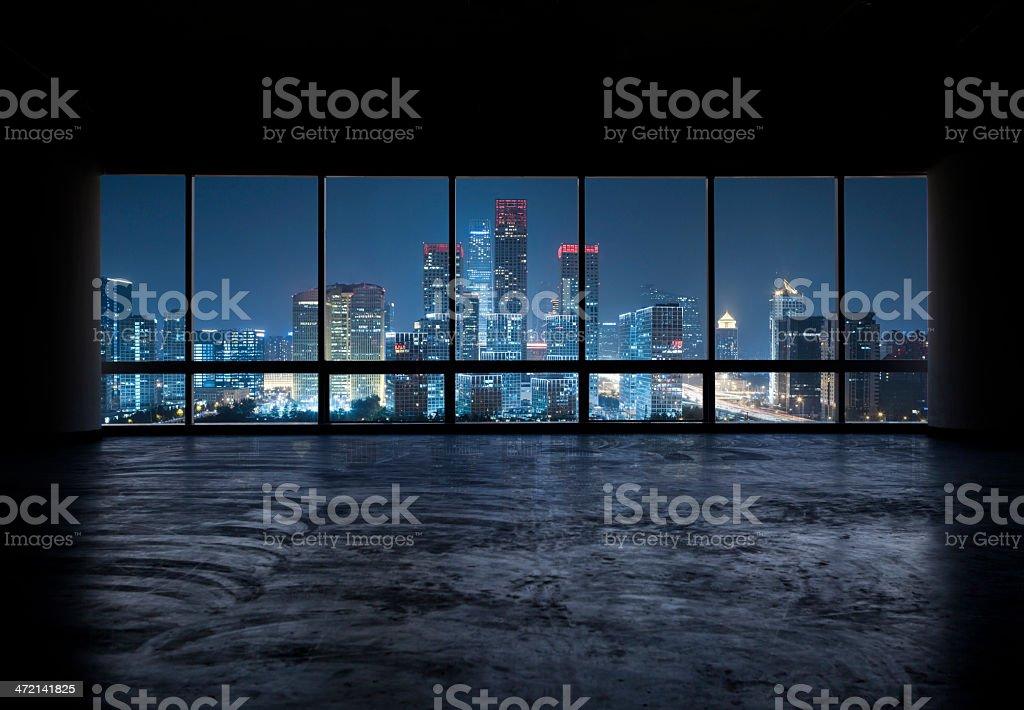 look through a window,a beautiful night scene of guomao .the CBD