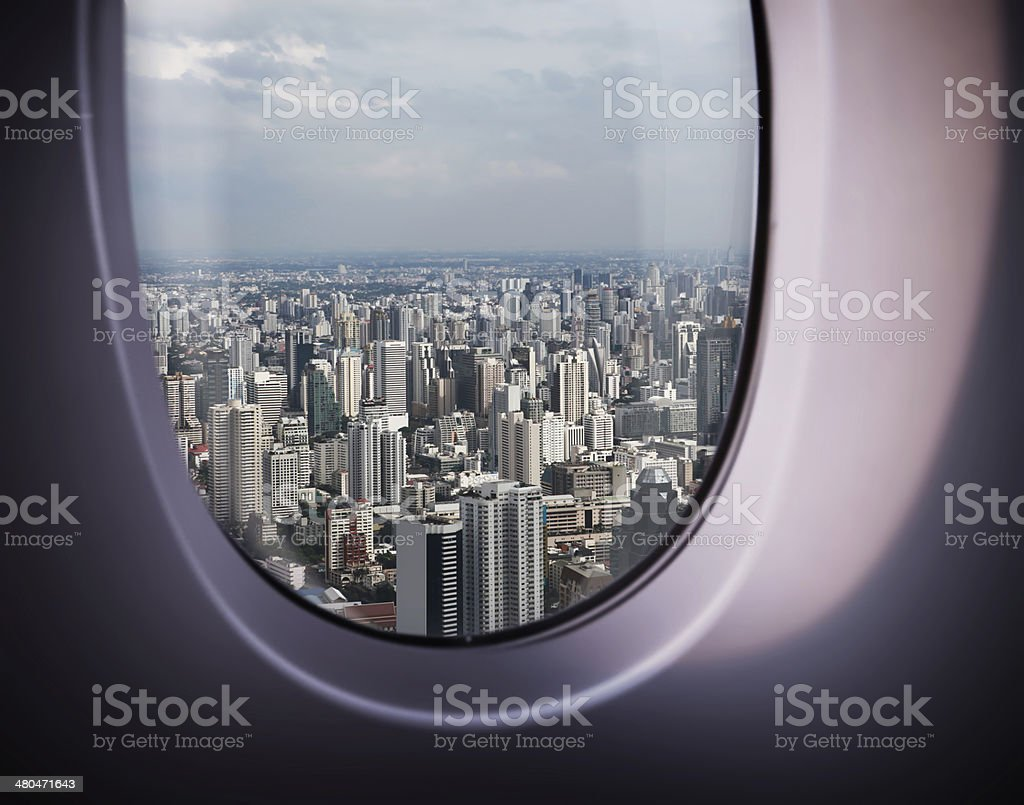 beautiful city view from the window stock photo