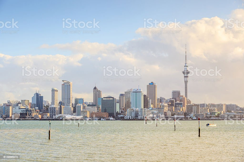 Beautiful cityscape of Auckland skytower and city in New Zealand. stock photo