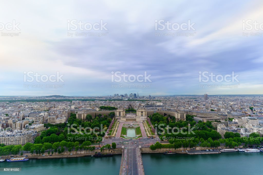 Beautiful Cityscape of Paris viewing Palais de Chaillot from The Eiffel Tower ,  France stock photo