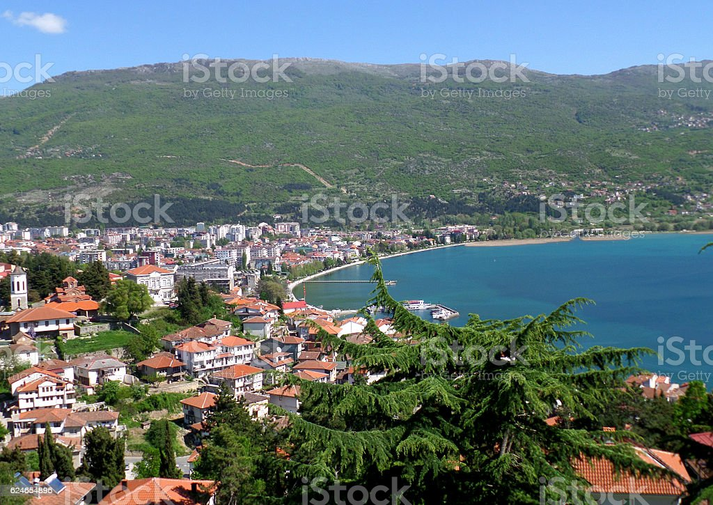 Beautiful cityscape on the shores of Lake Ohrid, Macedonia (FYROM) stock photo