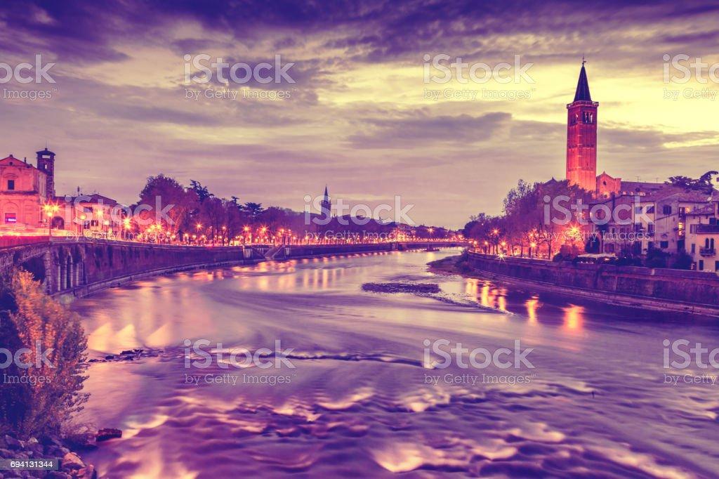 Beautiful cityscape. Sunset in Verona stock photo