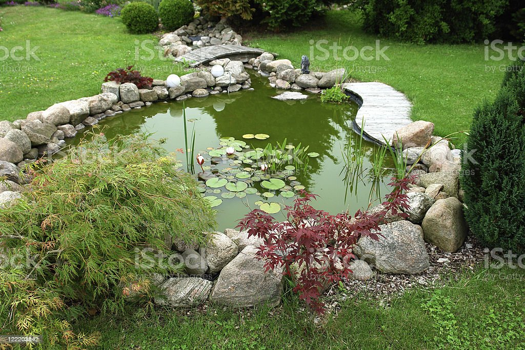 Beautiful classical design garden fish pond gardening background stock photo