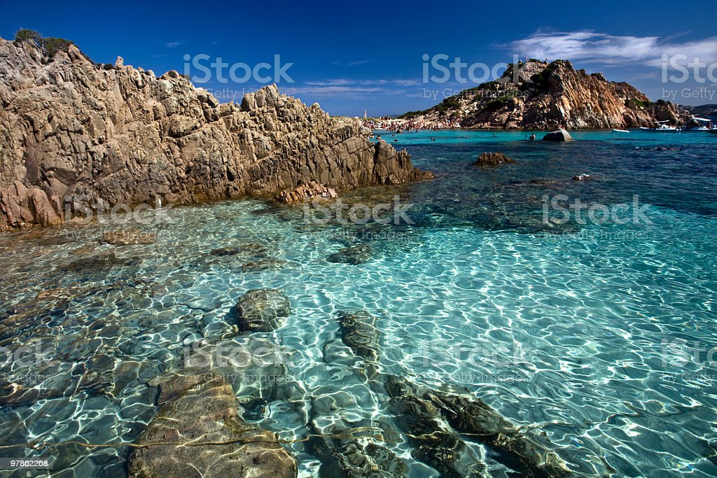 Beautiful clear beach La Maddalena stock photo