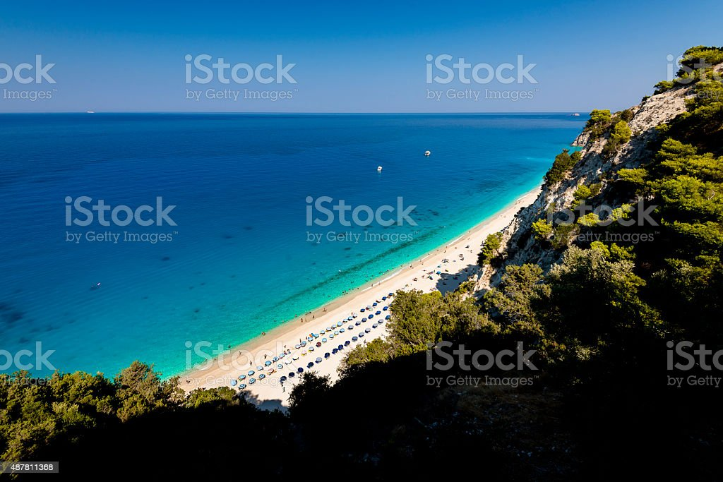Beautiful clear sea at Egremni beach in Lefkada stock photo