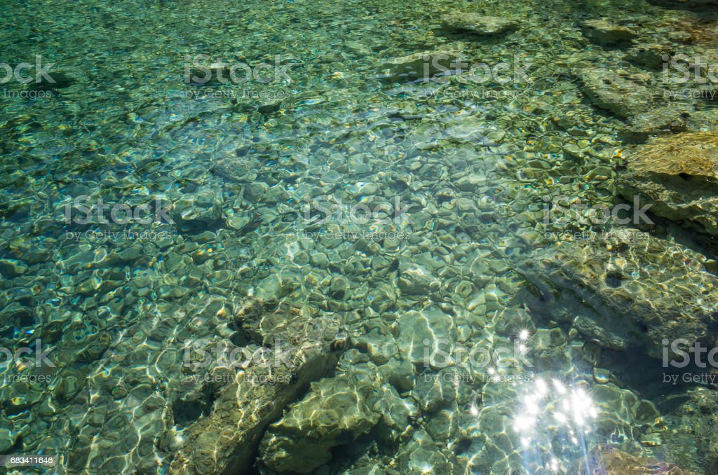 Beautiful clear water with stones stock photo