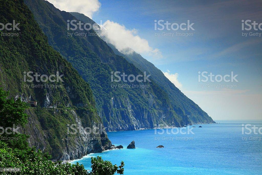 Beautiful Cliff in Hualien, Taiwan stock photo