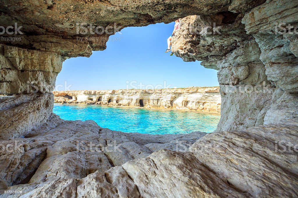 Beautiful cliffs and arches in Aiya Napa, Cyprus stock photo