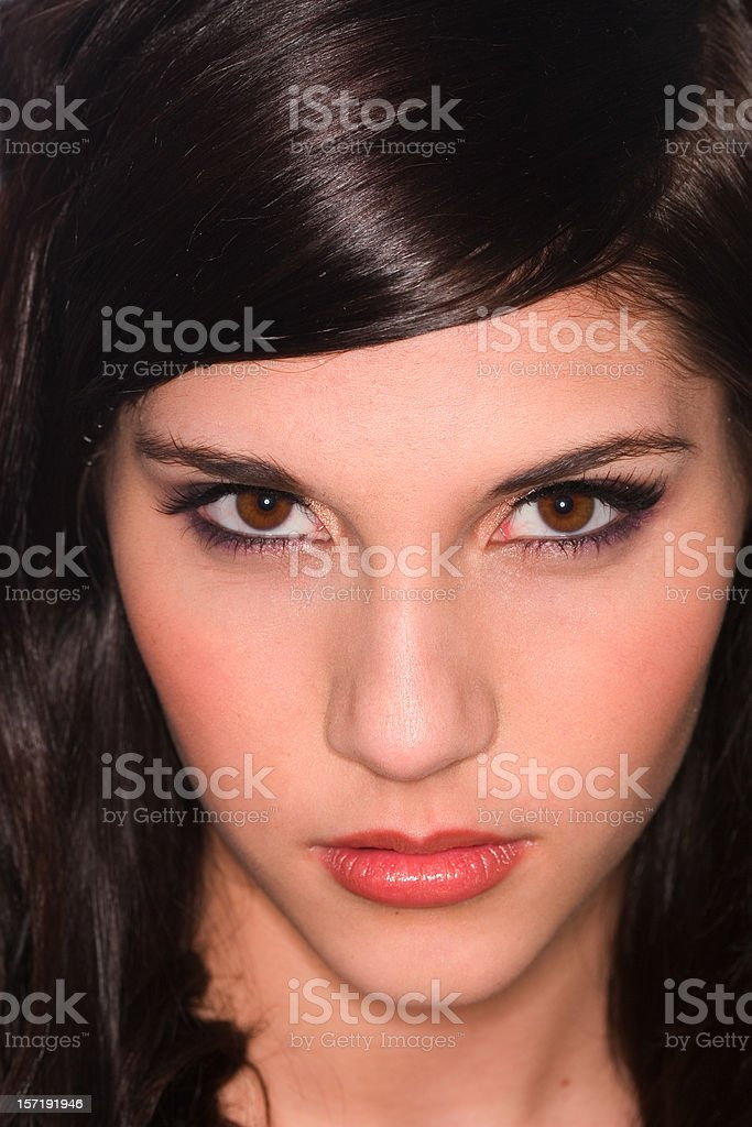 Beautiful Close Up of Brunette Young Woman royalty-free stock photo