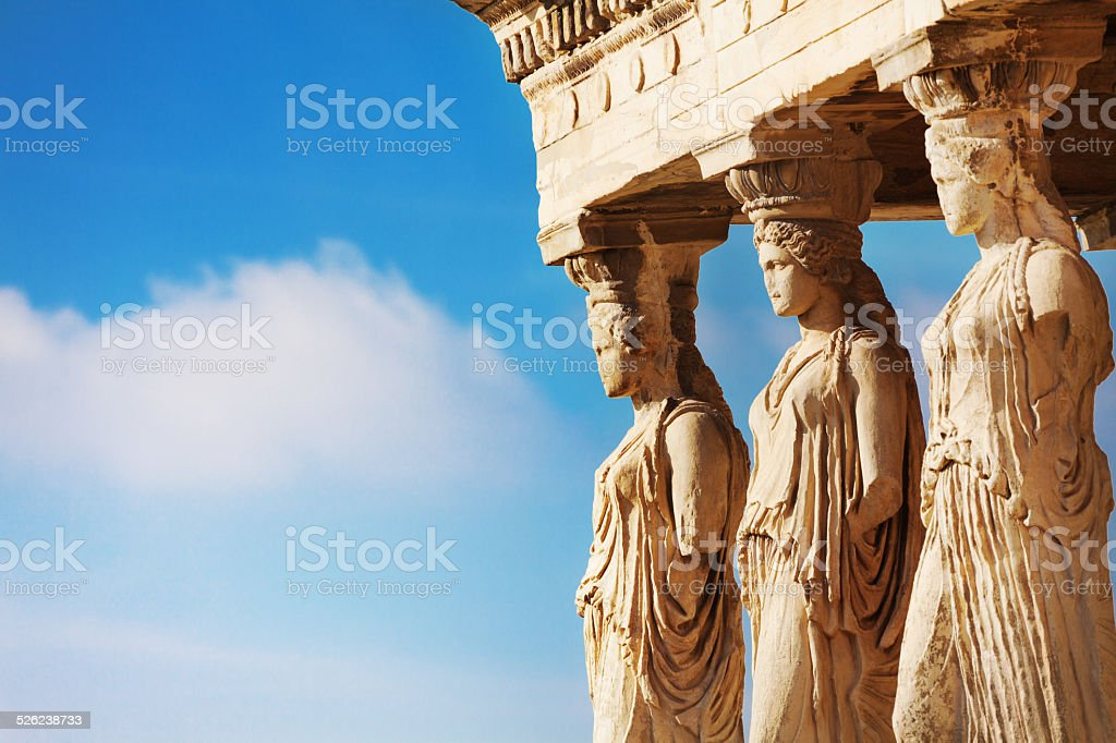 Beautiful close up statues view of Erechtheion stock photo