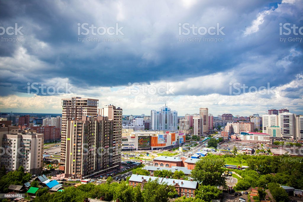 Beautiful cloud and sky on cityscape background in Cloudy day stock photo