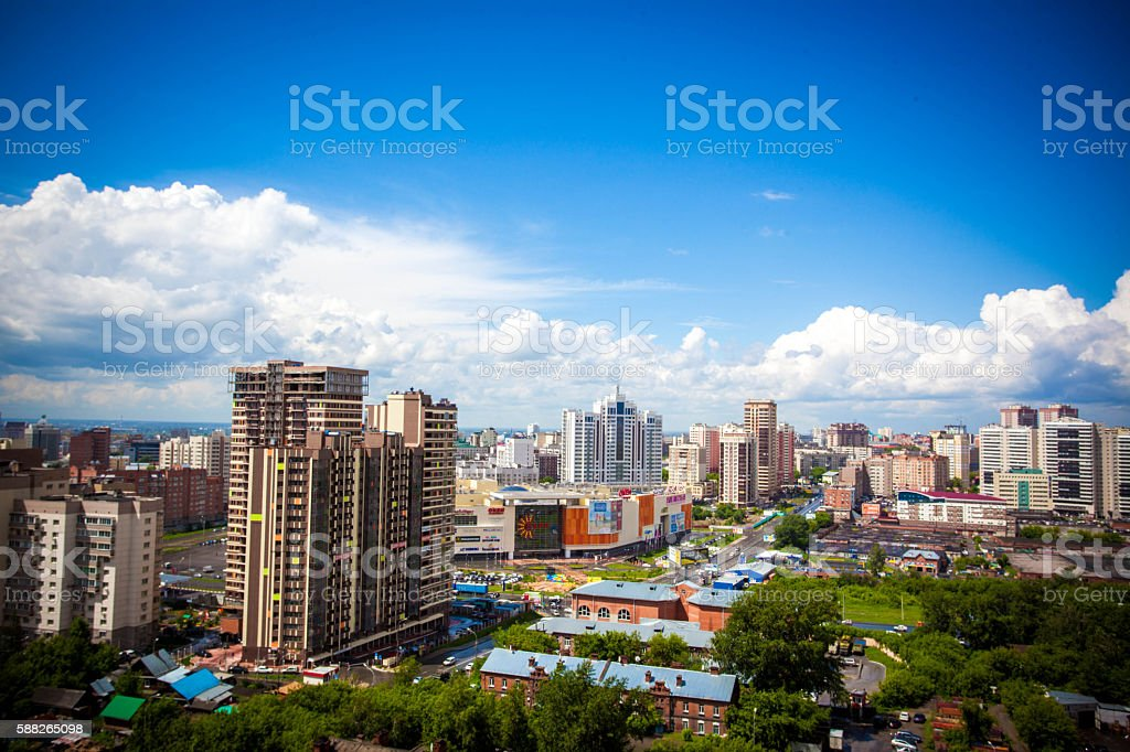 Beautiful cloud and sky on cityscape background stock photo