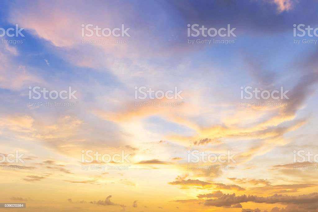 beautiful cloud at sunset stock photo