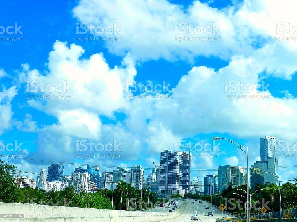 Beautiful clouds in Miami stock photo