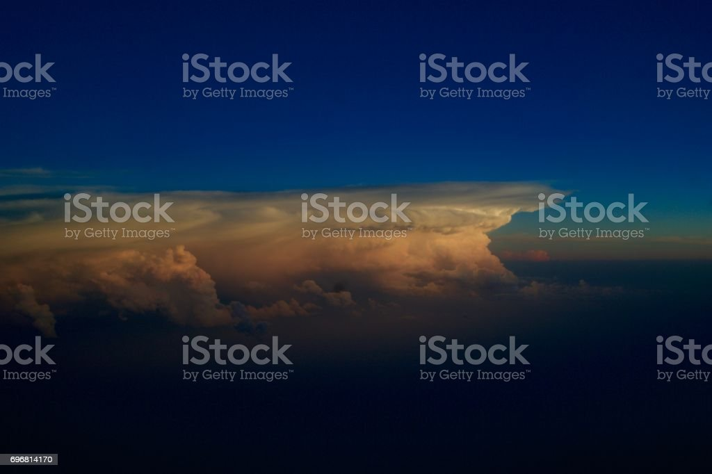 Beautiful Clouds in the Blue Sky at Sunset stock photo