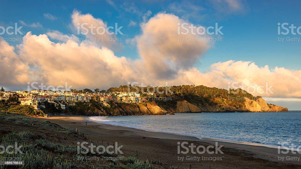 Beautiful clouds over the San Francisco at sunrise, California stock photo