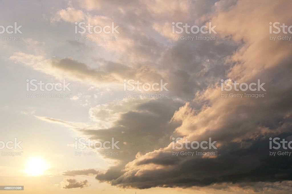 Beautiful Clouds Stretched out at Sunset stock photo