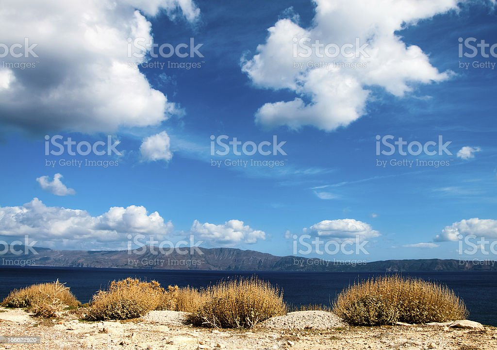 Beautiful cloudscape of Mediterranean shore royalty-free stock photo