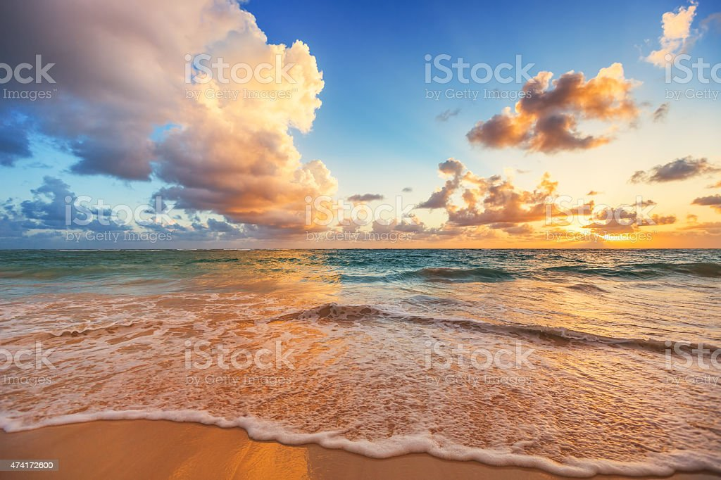 Beautiful cloudscape over Caribbean sea, sunrise shot stock photo