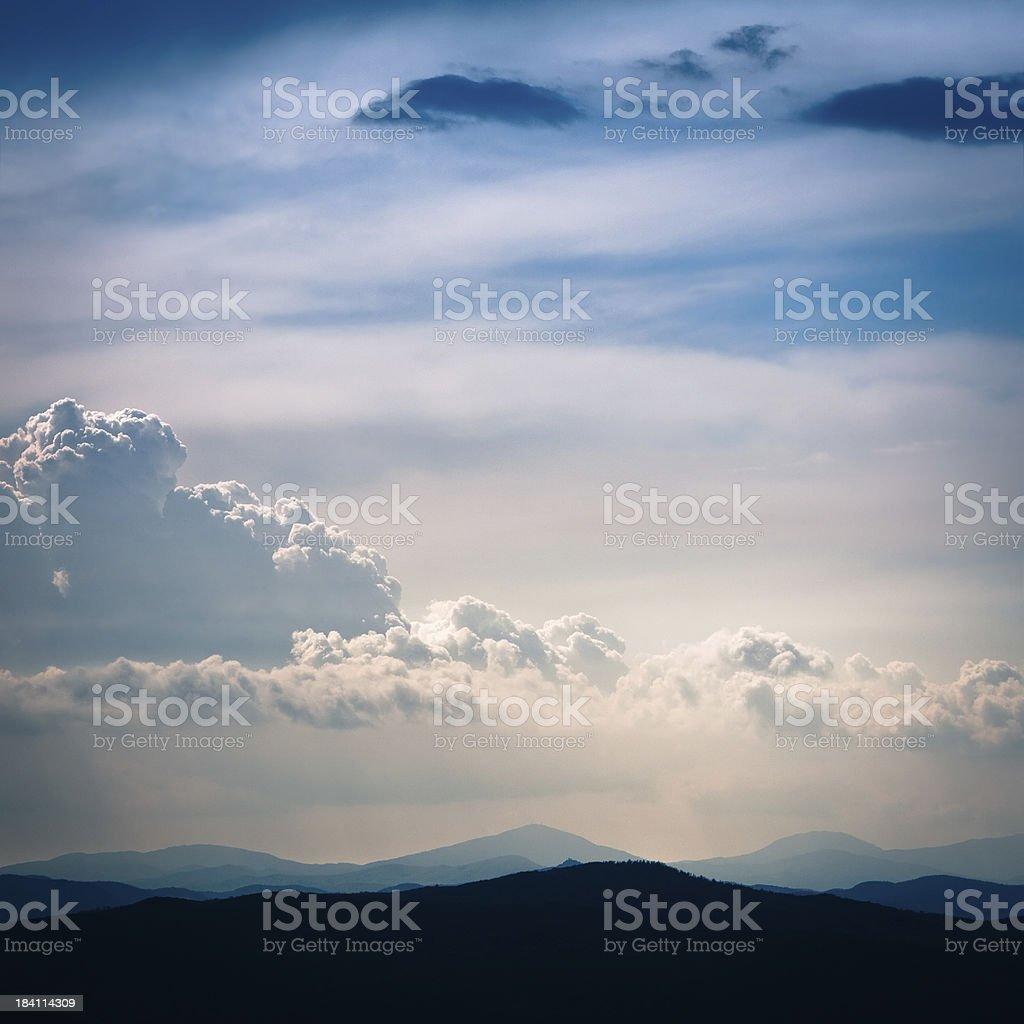 Beautiful Cloudy Blue Sky, Tuscany in Italy royalty-free stock photo