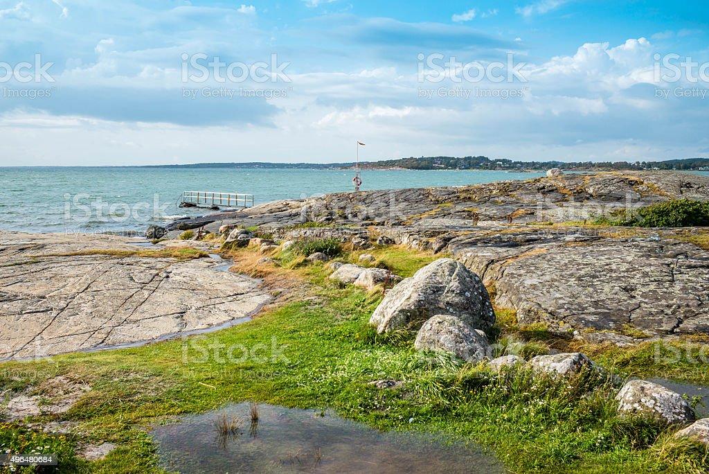 Beautiful coast area at Frillesås Sweden stock photo