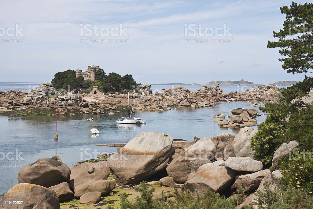Beautiful coast 'Granite Rose' of Brittany in France stock photo