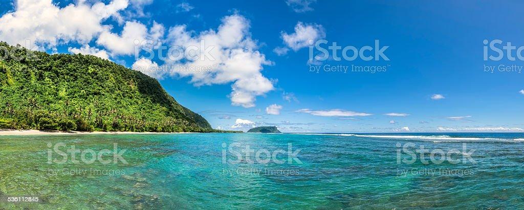 Beautiful coast of Lalomanu, Samoa stock photo