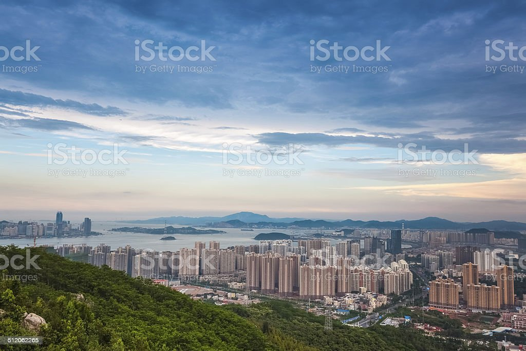 beautiful coastal city of xiamen at dusk stock photo