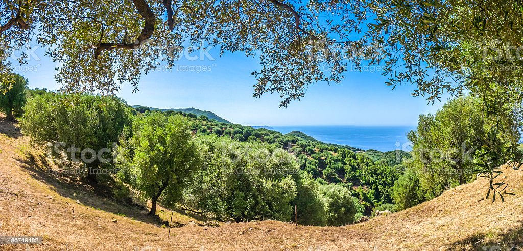 Beautiful coastal landscape at the Cilentan Coast, Campania, Italy stock photo