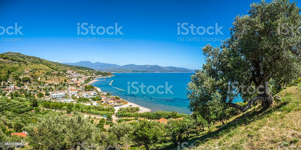Beautiful coastal landscape at the Cilentan Coast, Campania, southern Italy stock photo