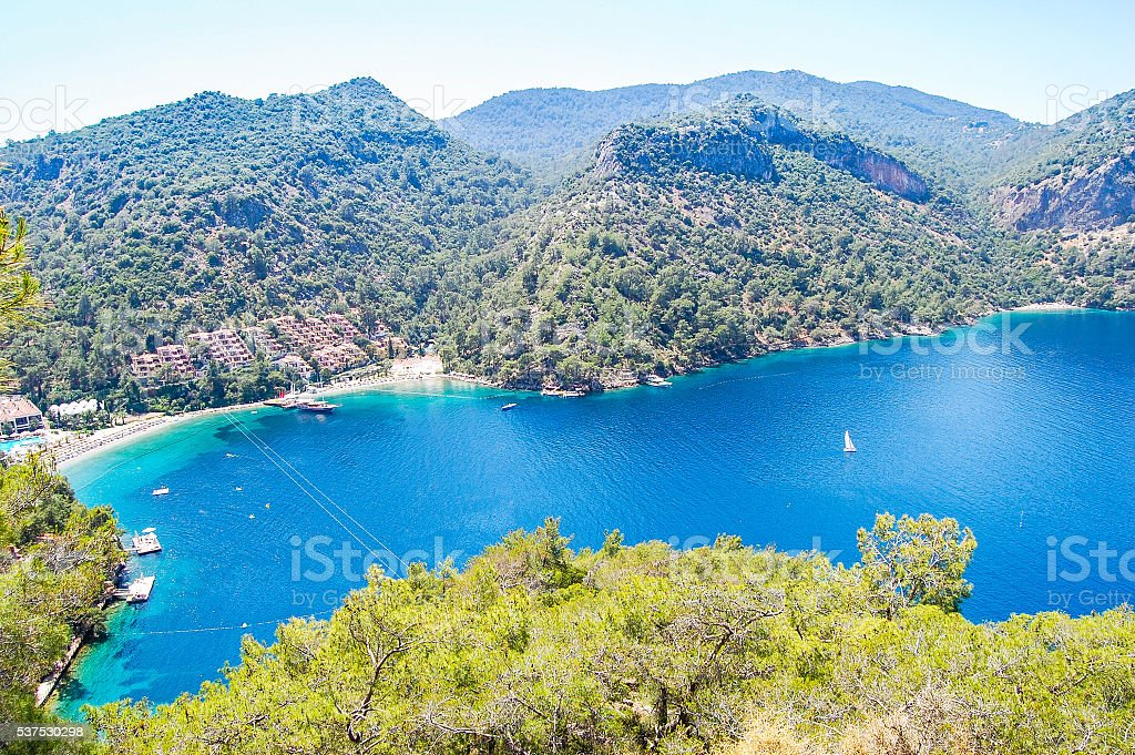 Beautiful coastline and mountains view  in Turkey stock photo