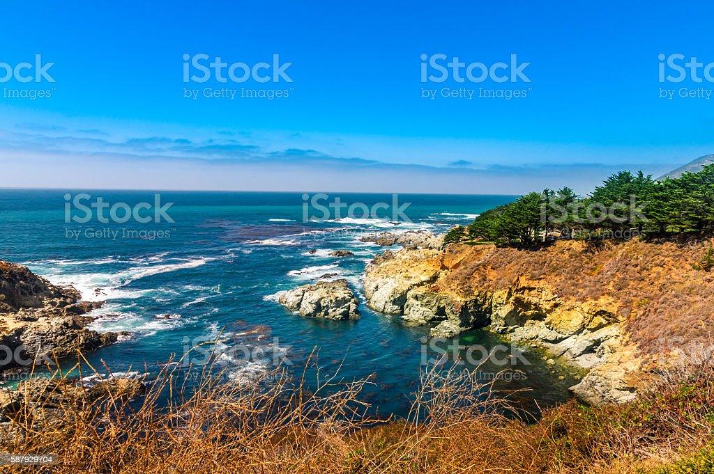Beautiful coastline scenery on Pacific Coast Highway towards Los Angeles stock photo