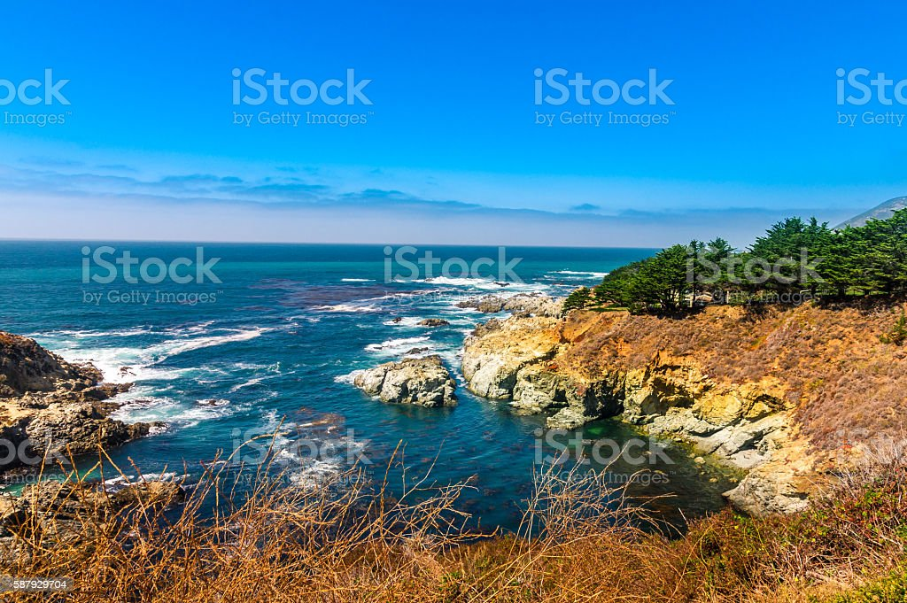 Beautiful coastline scenery on Pacific Coast Highway towards Los Angeles stock photo