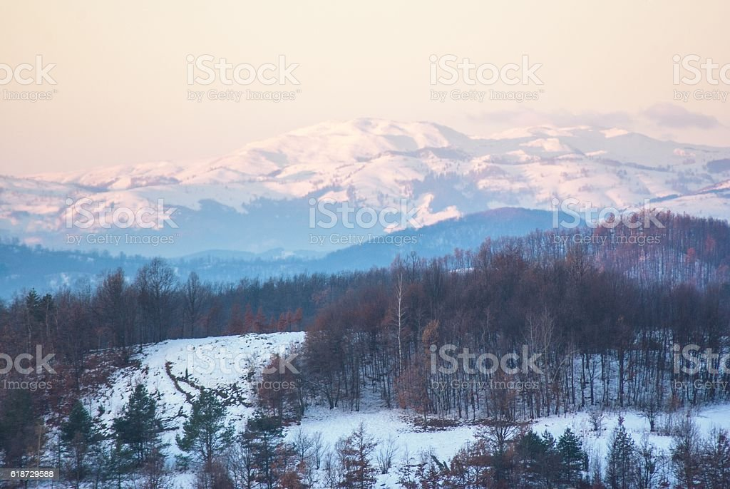 beautiful cold winter mountain landscape stock photo