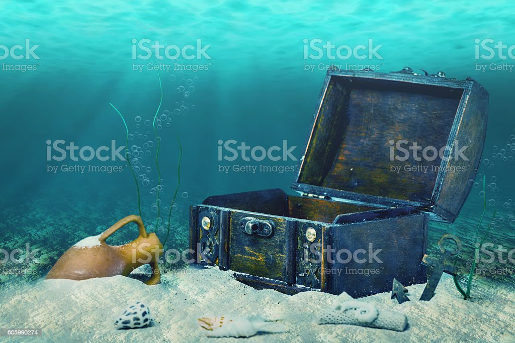 beautiful collage of closed old wooden treasure chest stock photo