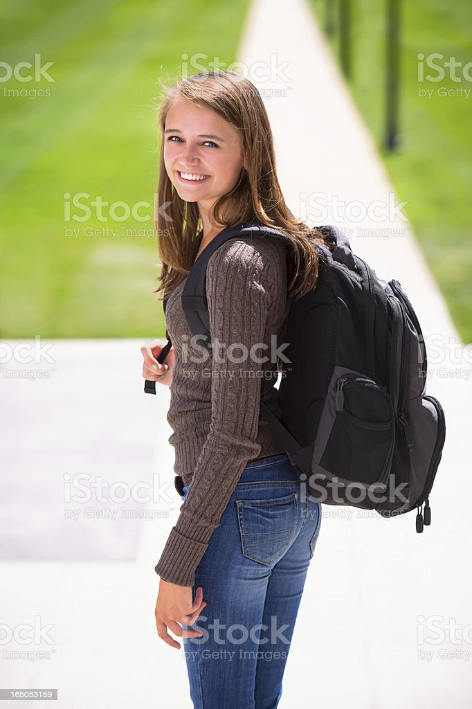 Beautiful College Freshman on Campus stock photo
