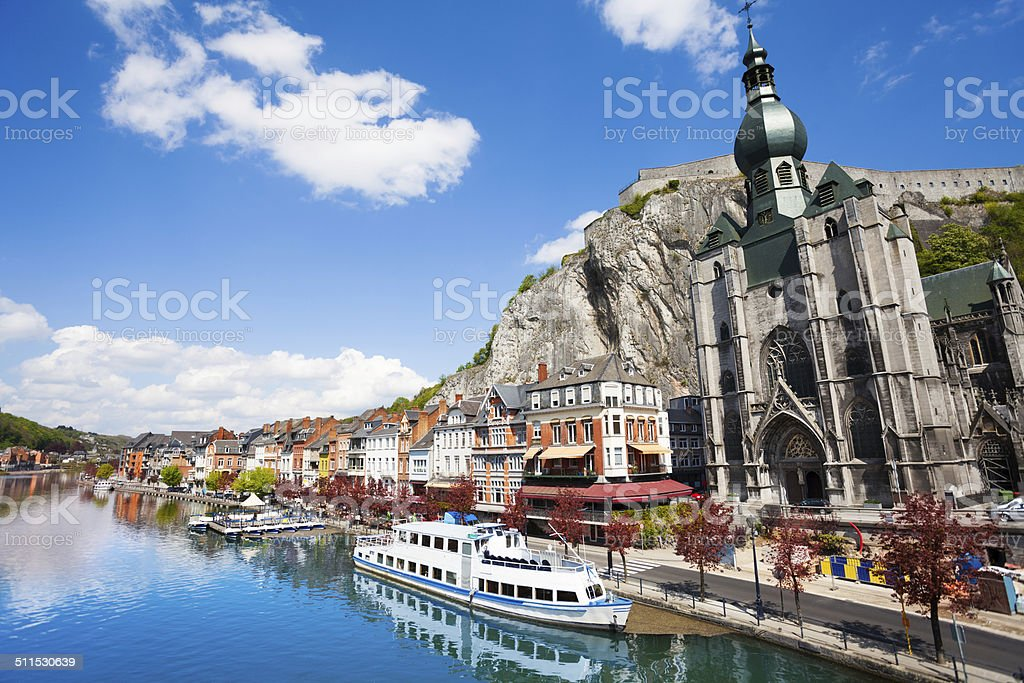 Beautiful Collegiale Notre Dame in Dinant stock photo